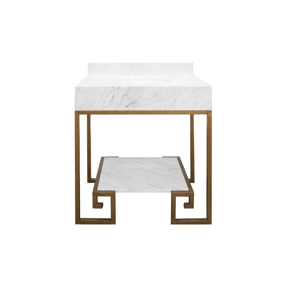 "30.5"" Isaac Edwards Collection Greek Key Bronze Base with White Carrara Marble Top and Shelf, Backsplash Option"