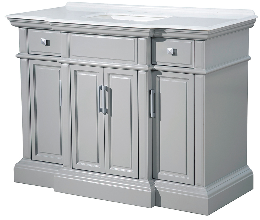 "Yorktown 48"" Single Sink White Quartz with Grey Veining Gray Finish Vanity"
