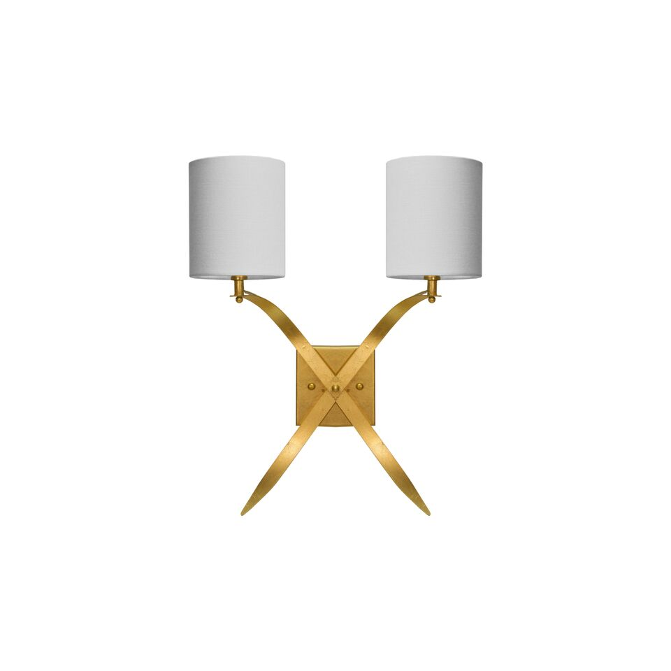 Two Arm Scone with White Linen Shade in Gold Leaf or Silver Leaf Option